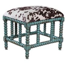 Cow Hide Animal Print Bench Stool Ottoman Turquoise Aqua Spindles Vanity... - £248.88 GBP
