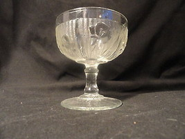 1 Iris & Herringbone Depression Glass Champaign Footed Sherbet Crystal Mint - $5.69