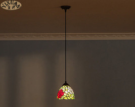 Tiffany Flower & Leaf Pendant Light Ceiling Lamp Stained Glass Lighting Fixture - $43.37