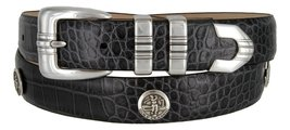 North Carolina Men's Genuine Leather Belt With Golf Concho In Alligator Charc... - $39.55