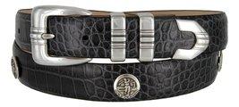 North Carolina Men's Genuine Leather Belt With Golf Concho In Alligator Charc... - $39.55