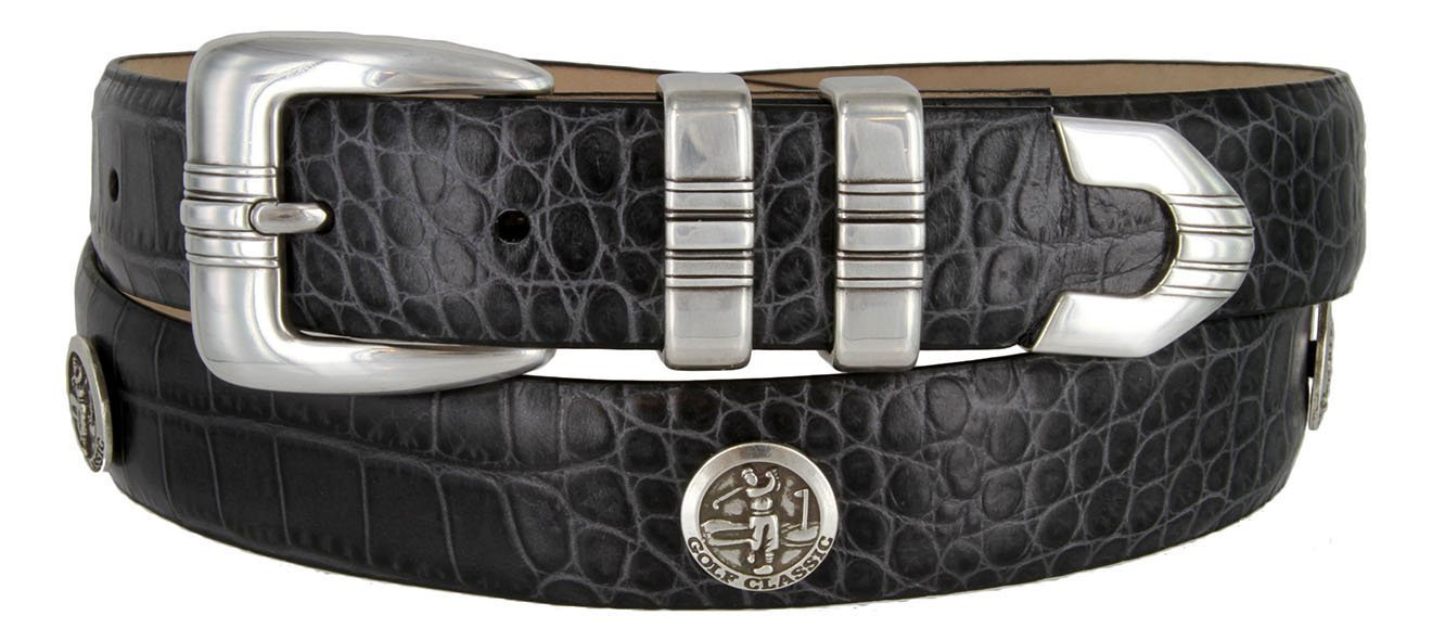 Primary image for North Carolina Men's Genuine Leather Belt With Golf Concho In Alligator Charc...