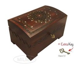 Large Flower and Holly Wood Jewelry Chest with Lock and Key  Keepsake Box - $46.99