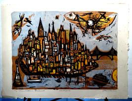 "IRVING AMEN(1918-2011) ""Manhattan Island"" Litho... - $395.00"