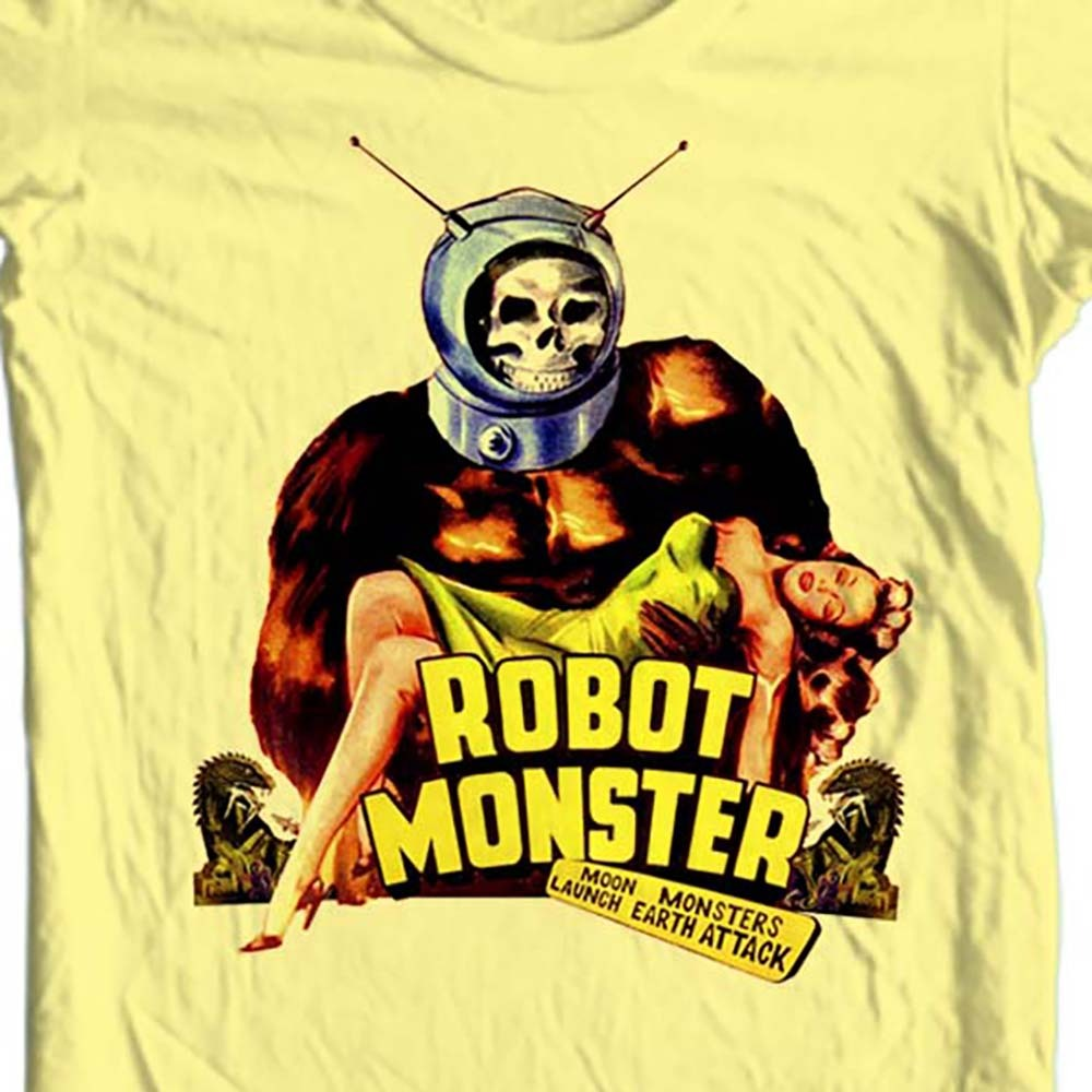 Robot monster vintage retro sci fi film yellow  t shirt