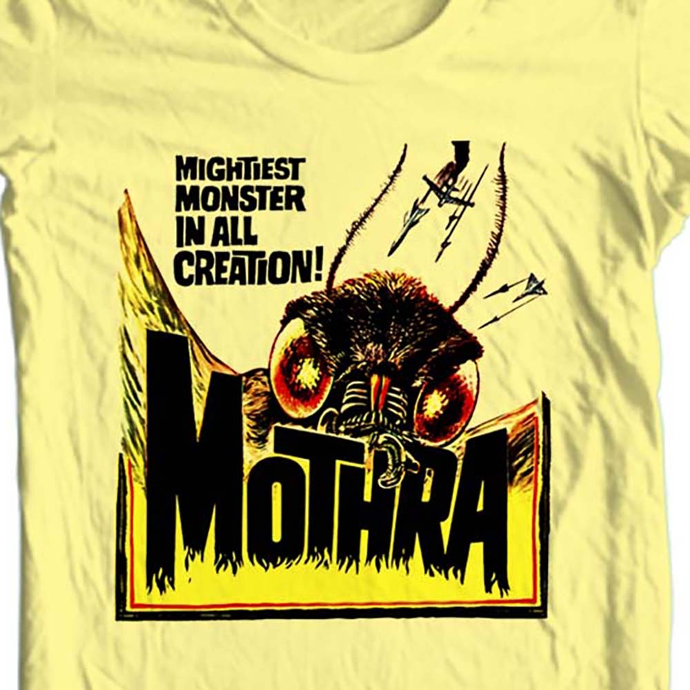 Mothra vintage sci fi horror film yellow t shirt