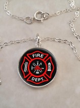 Sterling Silver 925 Necklace Fire Department Firefighter Fire fighter - £21.88 GBP+