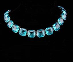 Art deco bracelet / vintage sterling link / Vintage Aquamarine glass / open back - $275.00