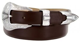 Silver Colorado Italian Calfskin Leather Designer Dress Belts for Men(36, Smo... - $29.20