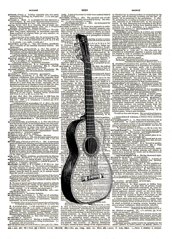 ACOUSTIC GUITAR  Musical Instrument Vintage Dictionary Page Art Print No. 0094