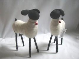 "2  Black Face White Wool Sheep Ornaments PUTZ 6"" - $24.74"