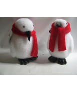 2 White Christmas PENGUINS Red Wool Mufflers  Sisal and wool - $29.65