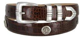 North Carolina Men's Genuine Leather Belt With Golf Concho In Alligator Brown... - $39.55