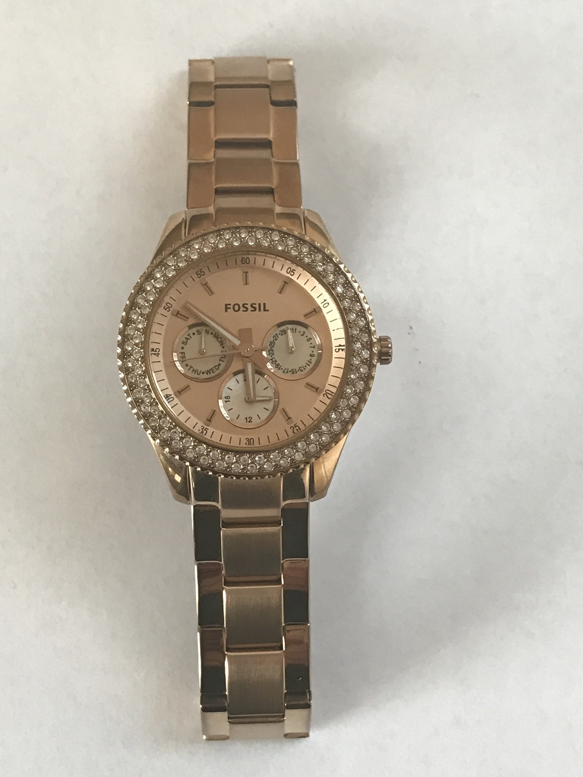 Primary image for Women's Fossil Rose Gold Tone Watch Needs Battery