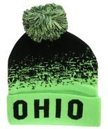 Ohio State Men's Cuffed Digital Fade Soft Winter Knit Beanie Pom Hats Blk/Green - $11.95