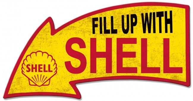 "Fill Up With Shell Arrow Plasma Cut Metal Sign ( 26"" by 14"" )"