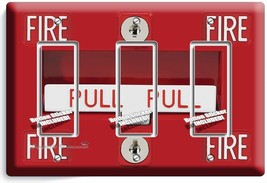 Fire Alarm Pull Down Triple Gfci Light Switch Wall Plate Cover Room Garage Decor - $14.57