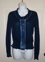 Cabi #287 Centerfield Size XS Navy Blue TieDye Cardigan Sweater Button-Down - $14.99