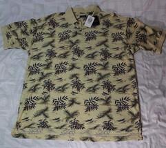 IZOD Men's Polo Shirt X-LARGE Tropical Tan Hawaiian Cotton Shirt  NWT - $39.99