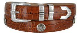 North Carolina Men's Genuine Leather Belt With Golf Concho In Alligator Tan(A... - $39.55