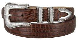 Cesar Silver Genuine Italian Calfskin Leather Designer Dress Belt for Men(Liz... - $29.69