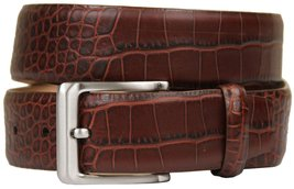 Grove Genuine Italian Leather Dress Belt-Alligator Brown-36-Brown - $29.20