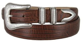 Cesar Silver Genuine Italian Calfskin Leather Designer Dress Belt for Men(Liz... - $29.69