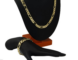 Mens 14k Gold Plated 7mm Italian Figaro Link Chain & Bracelet Set 24 & 8... - $21.76