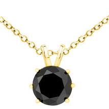 2.00 Carat Solitaire 6 Prong Basket Set Black Diamond 14K YG Solitaire Chain - $256.39+