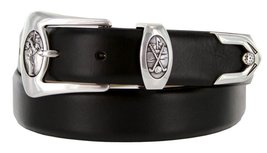 Monterey Italian Calfskin Leather Designer Dress Belts for Men(46, Smooth Black) - $29.20