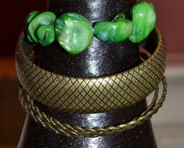 Bangle Bracelets - 3 Brass Bangles - 1 Stretch Bracelet of Green Howlite Stones - $4.99