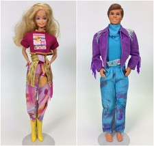 SET OF 2 1989 WESTERN FUN BARBIE & KEN USED - $23.96