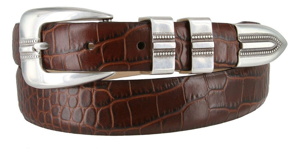 "Vince Italian Calfskin Leather Designer Dress Belt 1-1//8/"" Tapers to 1/"" Wide"