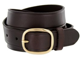 """Full Leather Work Uniform Belt with Rounded Buckle 1 and 1/4"""" Wide Brown 44 - $26.23"""