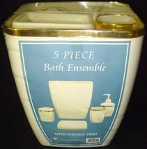 Carnation Home Fashions•5 pc•Ivory Shell/Gold Chrome•Bath Ensemble•Acces... - $13.49