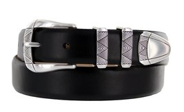 Martin Italian Calfskin Leather Designer Dress Belts for Men (48, Smooth Black) - $29.20