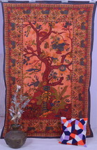 INDIAN ORANGE TWIN TREE of LIFE BEDSPREAD WALL HANGING TAPESTRY Ethnic D... - $15.66