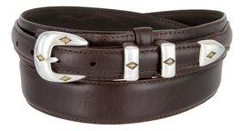 S5513 Oil Tanned Leather Ranger Belt With Sterling Silver Gold Diamond Buckle... - $32.62