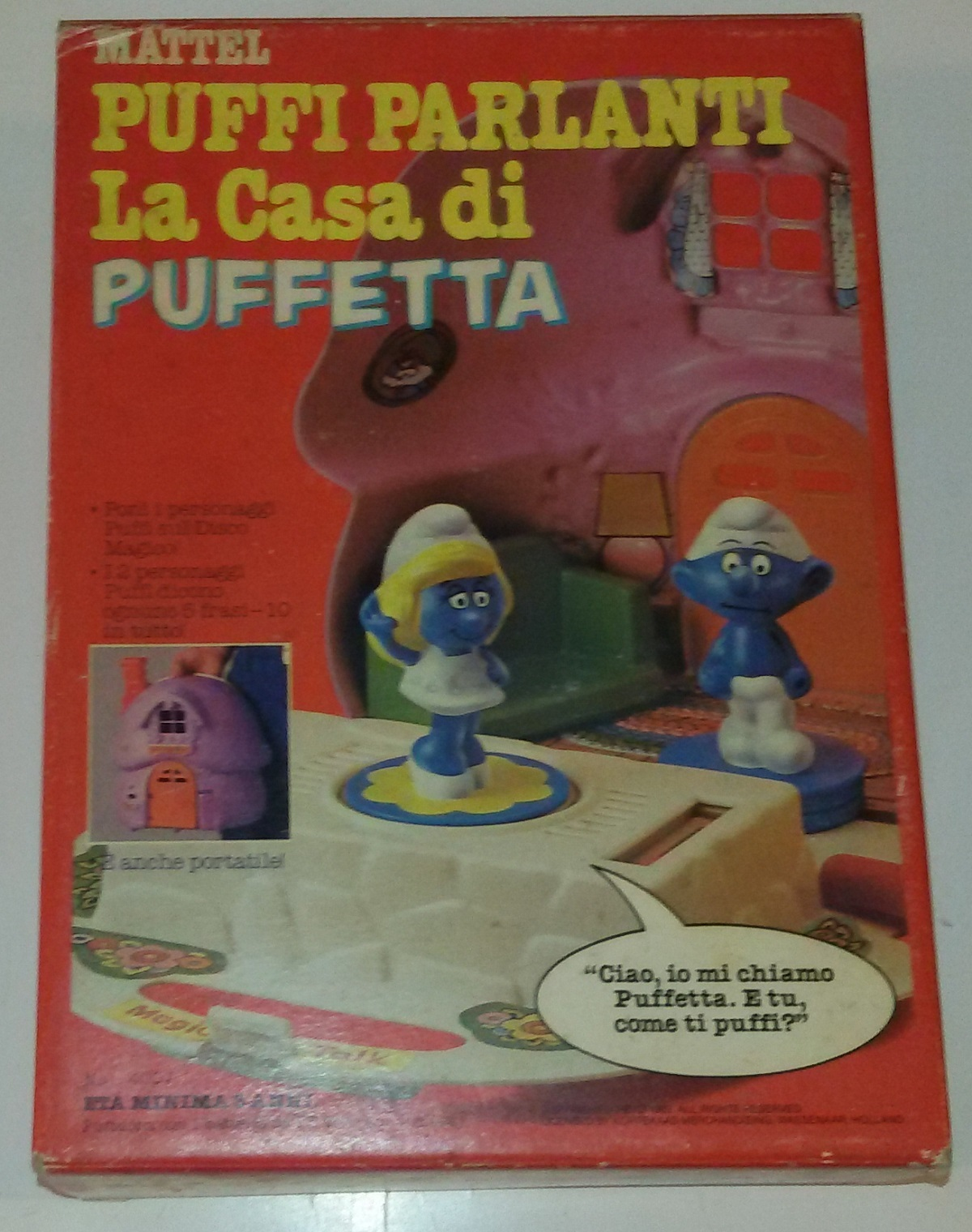 Primary image for Smurfs Magic Talk Smurfette Mushroom House Mattel Italian Ed.