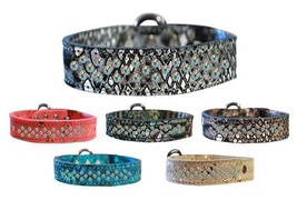 DRAGON SKIN GENUINE LEATHER Dog Collar * Sprinkle Aurora Borealis AB Cry... - €29,87 EUR+