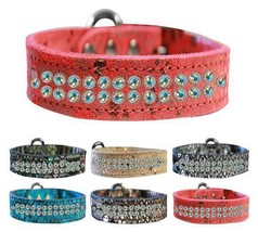 DRAGON SKIN GENUINE LEATHER Dog Collar * 2 Row Aurora Borealis AB Crysta... - €28,11 EUR+