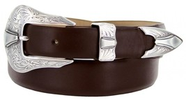 Silver Colorado Italian Calfskin Leather Designer Dress Belts for Men(48, Smo... - $29.20