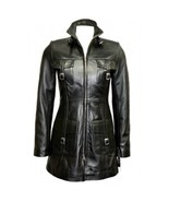 Leather Skin Women Black Genuine Real Leather Coat with Front Strap Pockets - $179.99