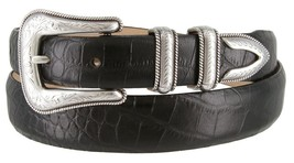 Cesar Silver Genuine Italian Calfskin Leather Designer Dress Belt for Men(All... - $29.69