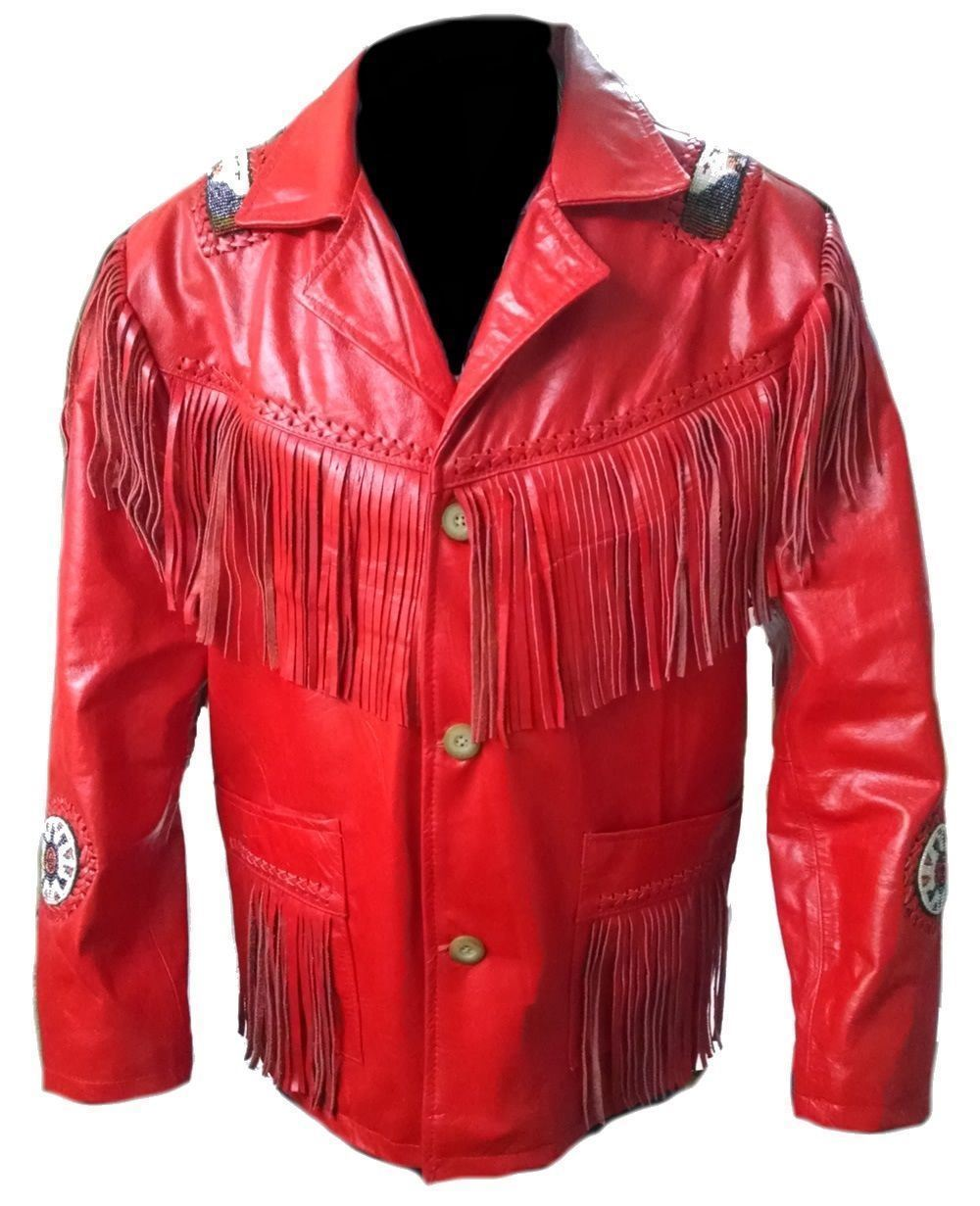 Ather skin men red handmade genuine leather jacket with leather fringes white wheel badges front