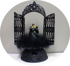 Sexy Black Gown Groom Top Wedding Cake Toppers Halloween Gothic Frankenstein - $41.09