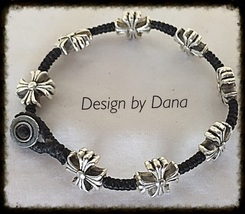 Maltese Cross-Silver Alloy-Woven Black Cotton C... - $20.00