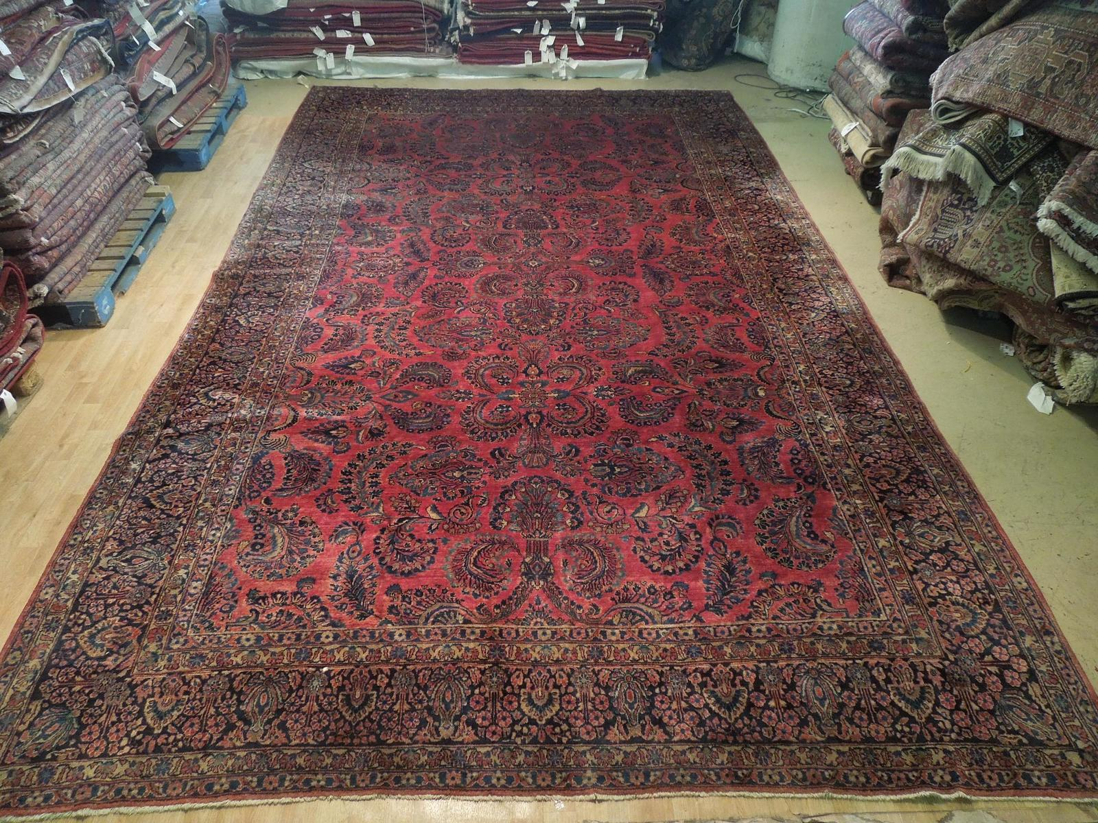 Red Sarouk Persian Wool Handmade Rug 11' x 18' Vivid Red Detailed Original Rug image 4