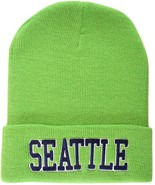 Seattle Adult Size Warm Thick Cuffed Winter Knit Beanie Hat Green/Navy Blue - $8.95