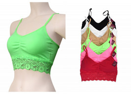 6 Pack Seamless One Size Bra with Lace Black White Beige Green Fuchsia B... - $19.99